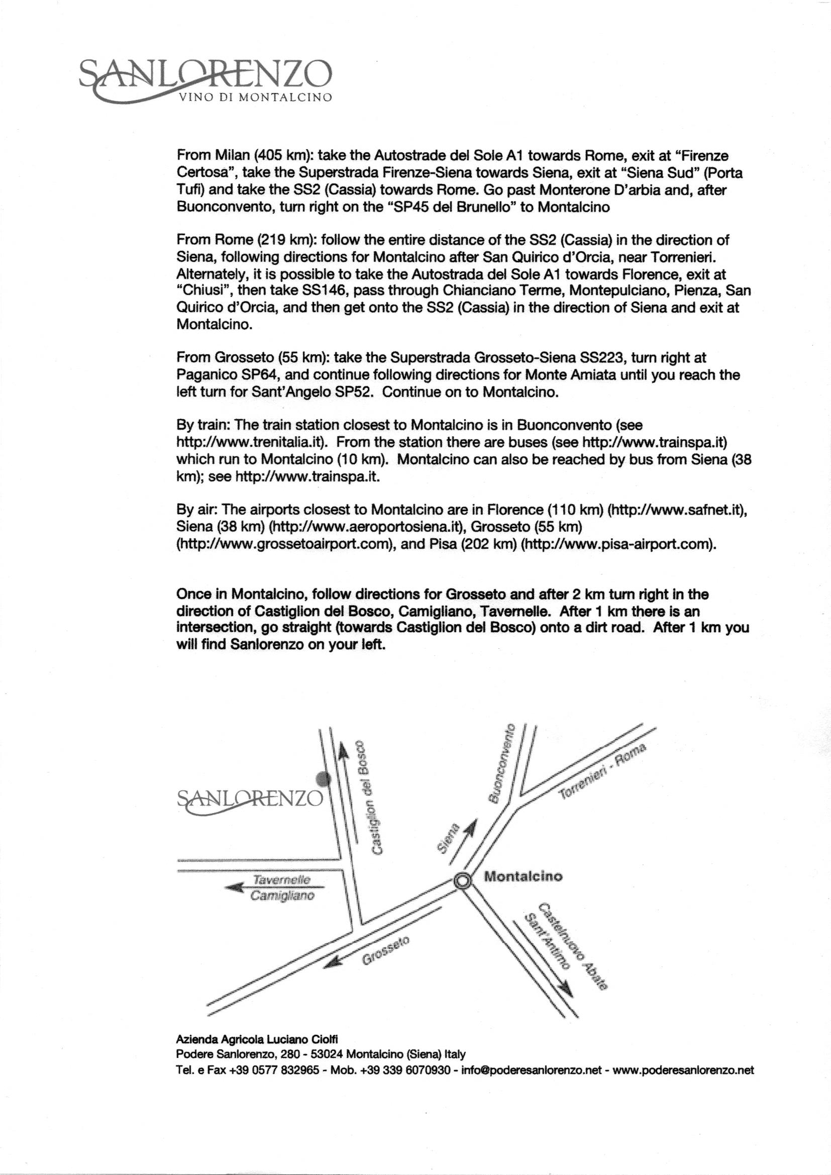 mappa con indicazioni in inglese