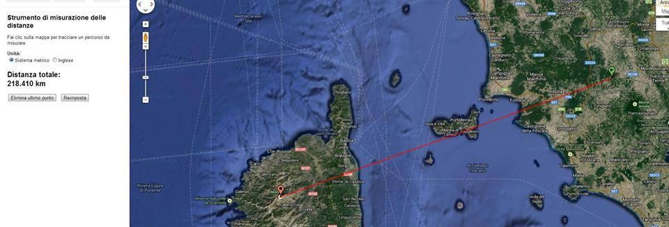 La misurazione della distanza del Monte Cinto da Sanlorenzo